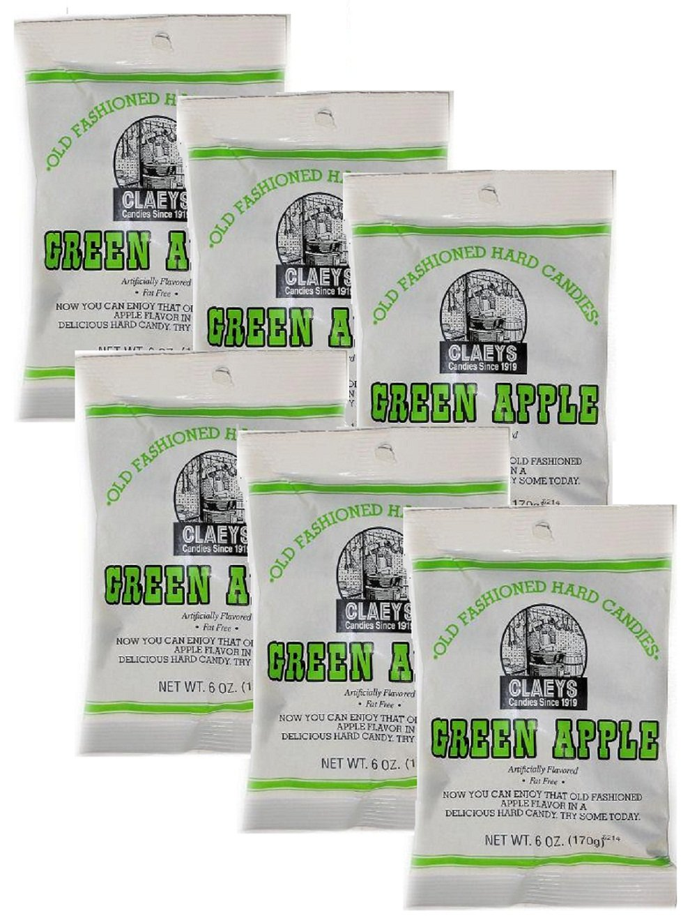 Claey's Green Apple Hard Candy 6 pack - 6 oz bags