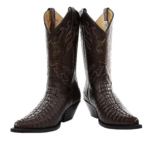 última colección selección asombrosa varios colores Rectificadoras Carolina Croc Botas de Cuero de cocodrilo en Color marrón  Botas Vaqueras de Estilo Occidental