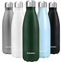 SUNWILL Insulated Stainless Steel Water Bottle Powder Coated Forest Green, Vacuum Double Wall Sports Water Bottle 17oz…