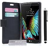 zStarLn® nero luxury Portafoglio Protettiva Custodia in pelle per LG K10 Cover Caso + 3 pellicola protettiva e Stylus pen
