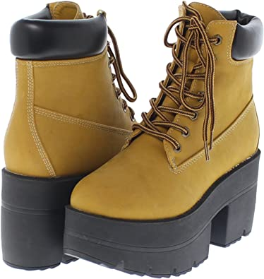 Wheat Shoe Republic Chunky Platform Lace Up Ankle Work Boot Adam