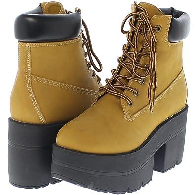 e867167219434 Shoe Republic Chunky Platform Lace Up Ankle Work Boots Adam (Wheat 5.5)