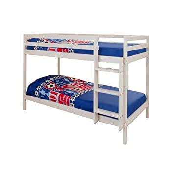 Comfy Living 2ft6 Shorty Childrens Bunk Bed In White With 2 Basic