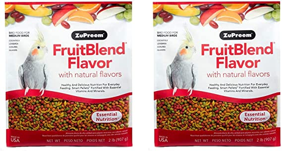 Amazon.com : ZuPreem FruitBlend Flavor Pellets Bird Food for Medium Birds, 2 lb (2-Pack) - Powerful Pellets Made in USA, Naturally Flavored for Cockatiels, Quakers, Lovebirds, Small Conures : Pet Supplies