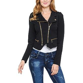 #18 Womens Modern Casual Asymmetrical Long Sleeve Zip Up Moto Jacket