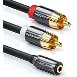 deleyCON PREMIUM HQ Stereo Audio Klinken zu Cinch Adapter - 3,5mm Klinken Buchse zu 2x RCA Cinch Stecker - METALL - vergoldet