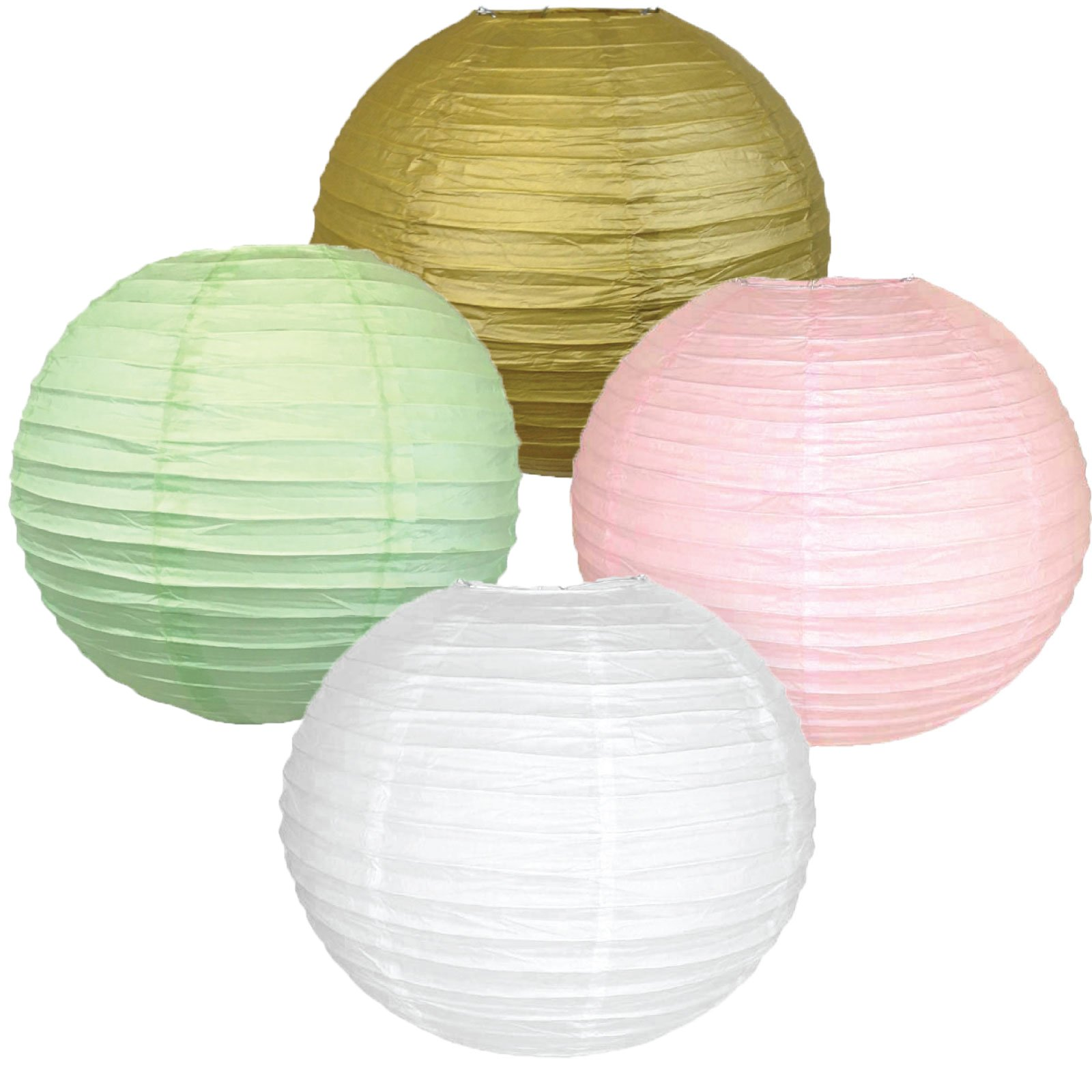 Just Artifacts Assorted Paper Lantern Set (12inch, Set of 4, Party Kit) – Includes (1) Gold, (1) Pale Pink, (1) Mint & (1) White Round Chinese/Japanese Paper Lanterns