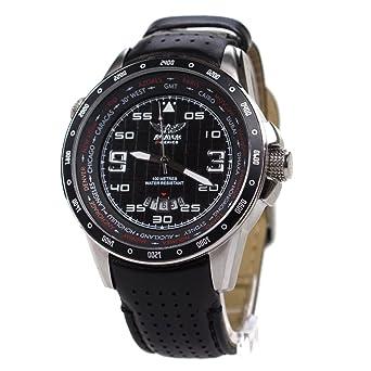 Aviator AVW7770G84 reloj con correa de cuero negro y esfera negra para hombre, hora mundial: Amazon.es: Relojes