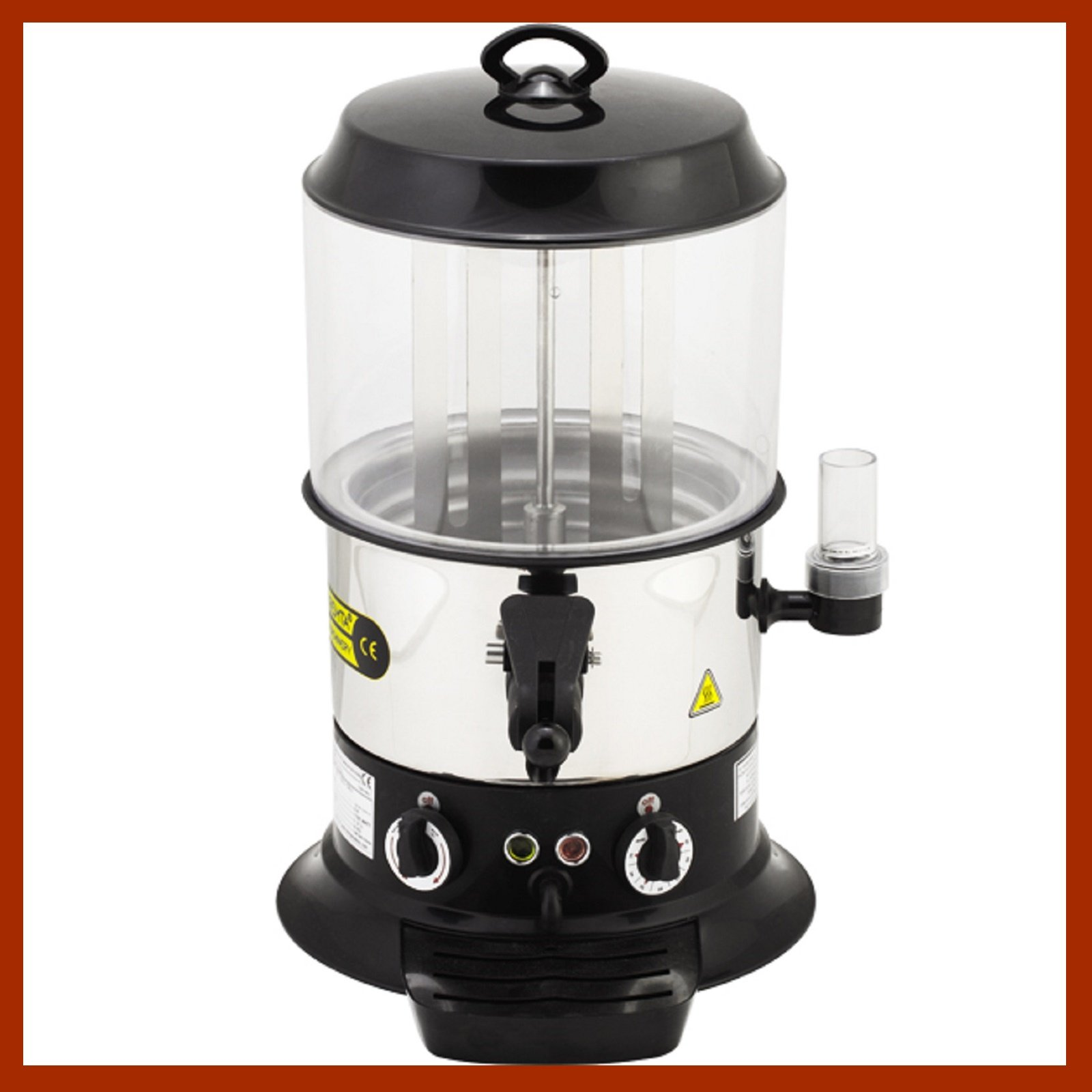 9 Liter Capacity PROFESSIONAL Commercial Hot Chocolate Beverage Maker Machine Electric Hot Chocolate Dispenser Shiny Silver and Black Color 220V