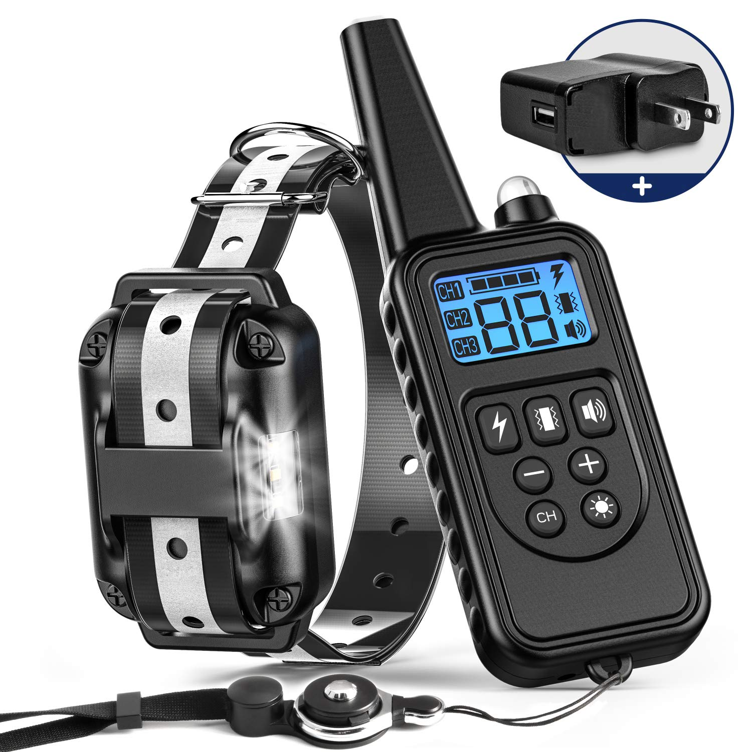 Training Collar T052 Dog Training Collar, BuddiPets 2018 Upgraded Reflect Light for Safety Waterproof Shock Collar for Dogs 2600ft Remote LED Light Tone Vibration Shock Dog Shock Collar for Medium Large Dog, Adapter Black