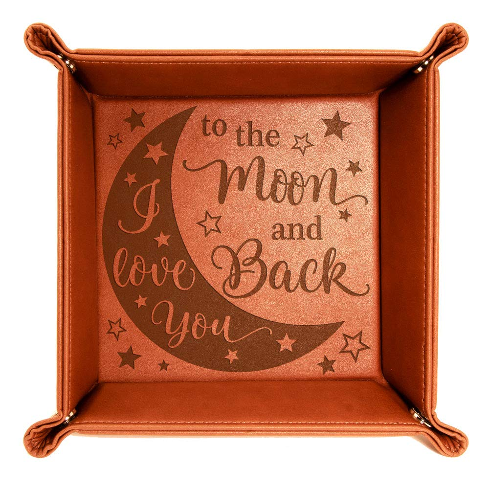 8efc17b3f9ec Kate Posh - I Love You to the Moon and Back Engraved Leather Catchall Valet  Tray