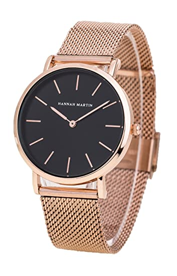 Womens Rose Gold Watches Fashion Stainless Steel Mesh Band Wrist Watch Simple Analog Quartz Black Dial