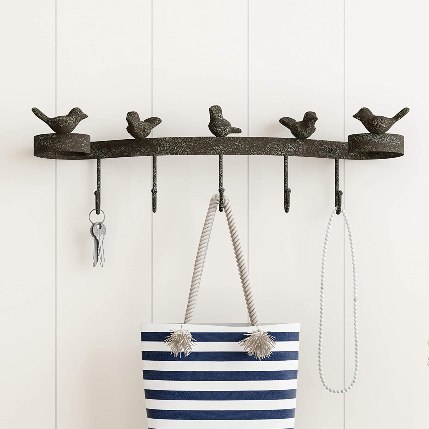 Lavish Home Decorative Birds on Ribbon Cast Iron Shabby Chic Rustic Wall Mount Hooks for Coats, Towels, Hats, Scarves, Jewelry, and More