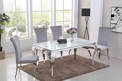 Astounding Italian Louis White Black Glass Dining Table Grey Velvet Spiritservingveterans Wood Chair Design Ideas Spiritservingveteransorg