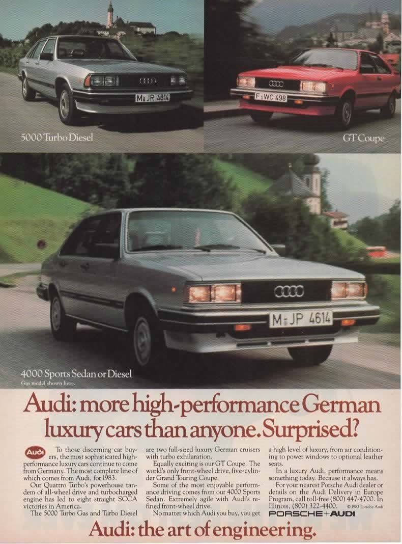 Amazon.com: Magazine Print Ad: 1983 Audi 4000 Sports Sedan, 5000 Turbo Diesel, GT Coupe,