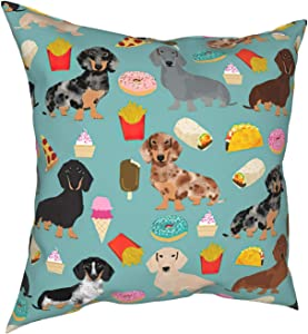 WAZHIJIA Dachshund Food Donuts Decorative Throw Pillow Covers 18 X 18 Inch,Cotton Linen Cushion Cover Square Pillow Cases for Car Sofa Home Decor