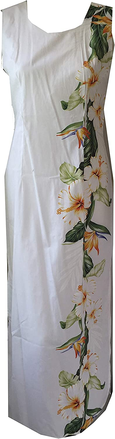 Bird of Paradise Hawaiian Long Tank Dress 2XL, White