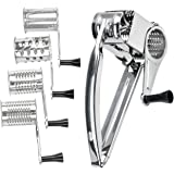 Rotary Cheese Vegetable Grater, WarmHut Stainless Steel Cheese Vegetable Shredder Slicer CutterPlane, with 4 Interchanging Drums Cylinder
