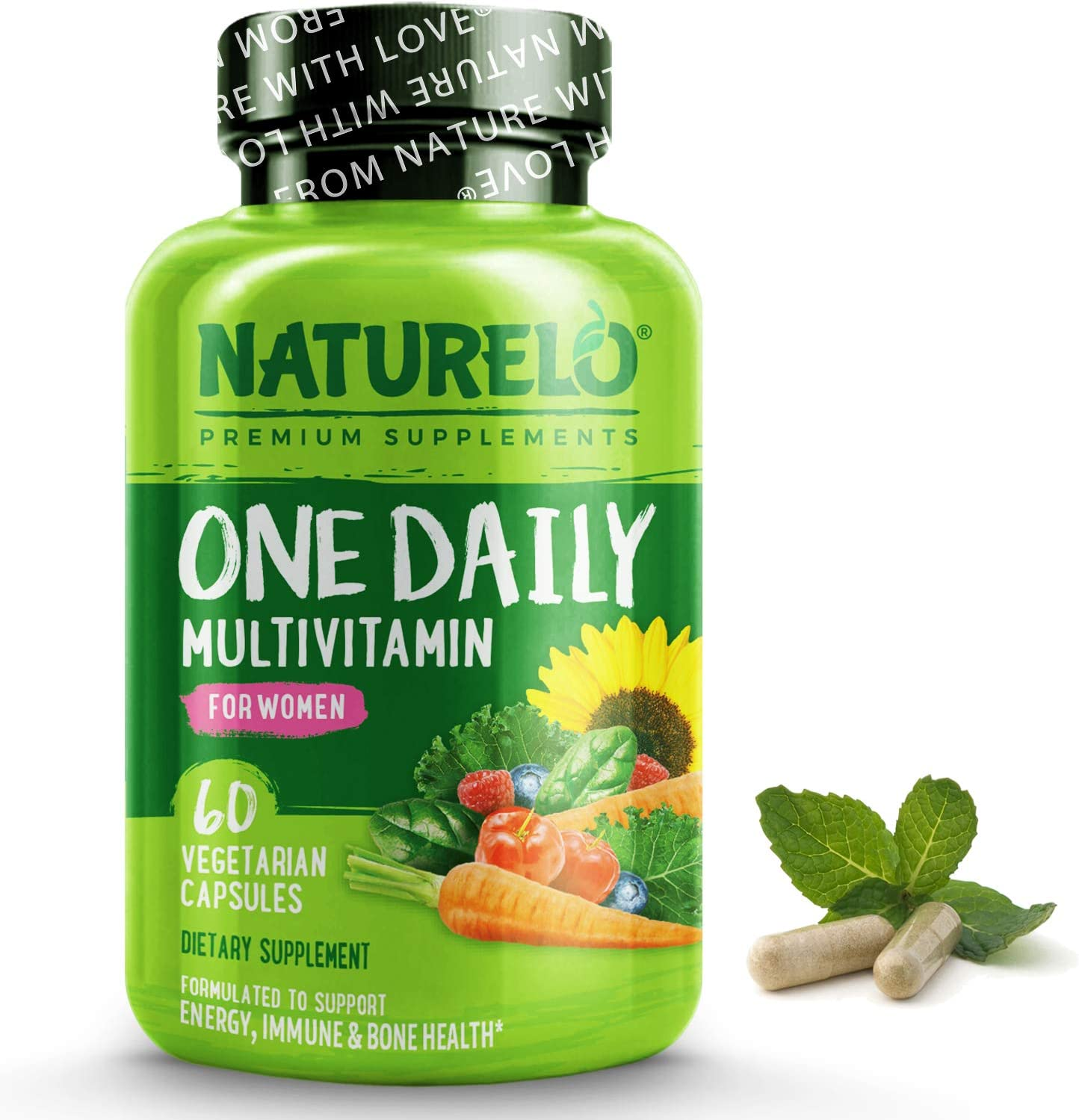 NATURELO One Daily Multivitamin for Women - Energy Support - Whole Food Supplement to Nourish Hair, Skin, Nails - Non-GMO - No Soy - Gluten Free - 60 Capsules | 2 Month Supply