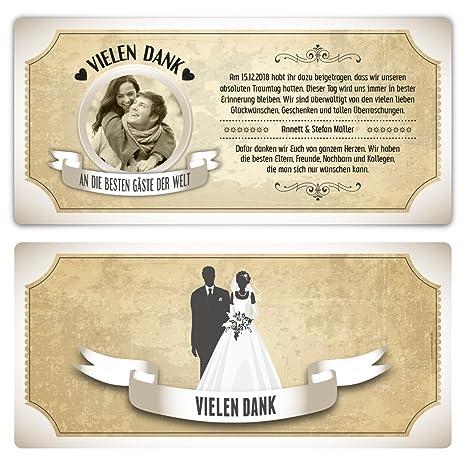 Danksagungskarten Dankeskarten Danksagung Hochzeit Rustikal in Weiß