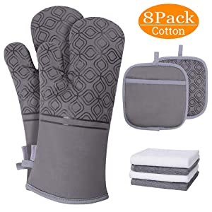INHDBOX Oven Mitts and Pot Holders Set & Kitchen Cotton Towels,Heat Resistant Gloves with Cotton Terry Lining,Dual-Function Pot Holder with Pocket,8 Pack (Gray)