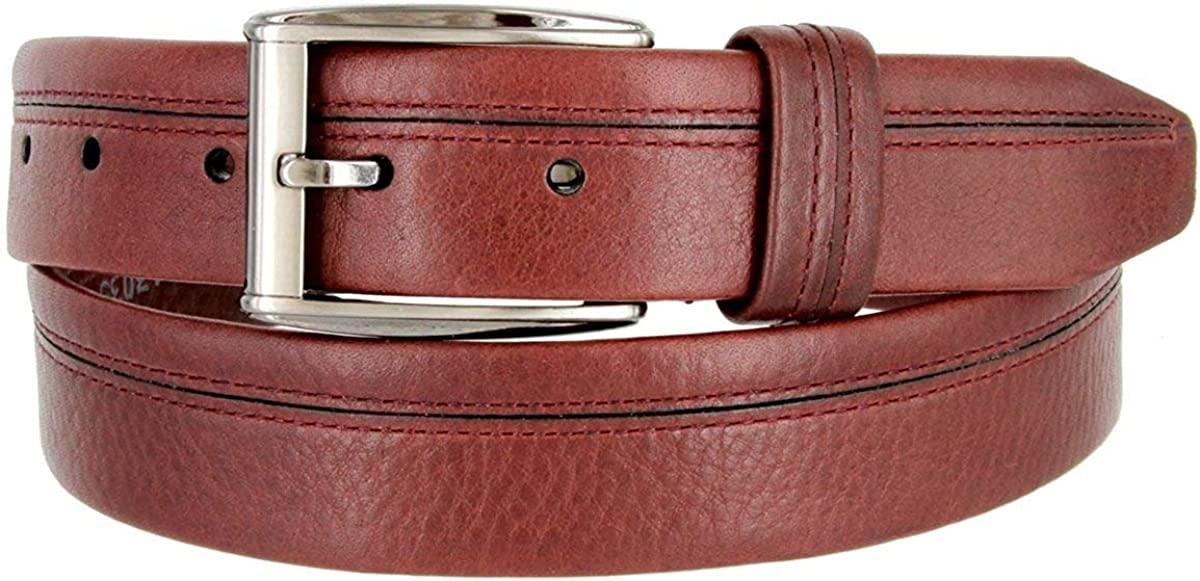 Hagora Men 1-3//8 Maroon Wide Full Grain Steerhide Cut Detail Metal Buckle Belt