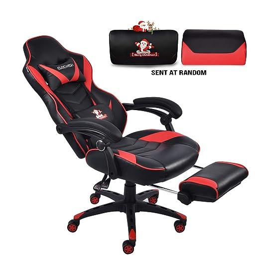 Silla de carreras para videojuegos, respaldo alto, de piel sintética, ergonómica, con reposapiés y cojín lumbar y de cabeza ajustable rosso