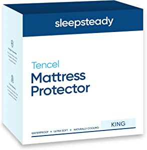 Sleepsteady 100% Waterproof Mattress Protector   Luxury Tencel Top Softer Than Terry Cotton   Naturally Cooling & Hypoallergenic   Fitted Sheet, Deep Pocket Design Fits All Mattresses (King Size)
