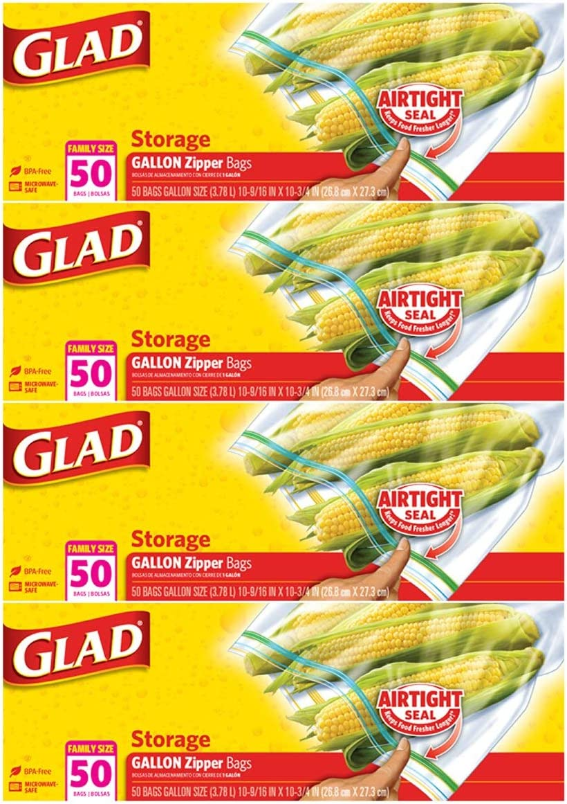 Glad Zipper Food storage plastic Bags gallon - 50Count - 4 Pack