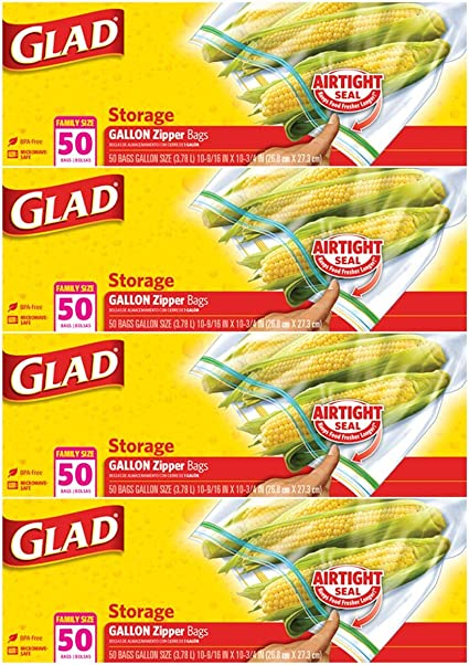 Glad® Zipper Food Storage Plastic Bags - Gallon - 50 Count