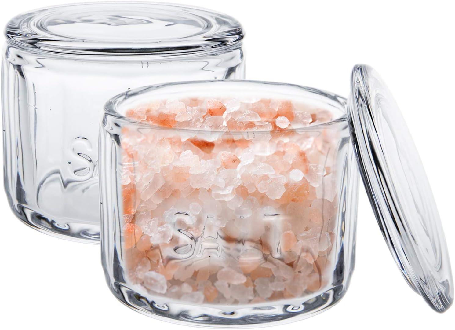 """Nicunom 2 Pack Clear Glass Salt Cellar with Lid, Salt Storage Container Salt Box, Retro Style, Kitchen Decor, Wedding Gift, 3.75""""D x 3.15""""H"""