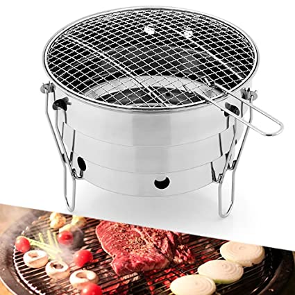 FOONEE Small Portable BBQ Grill 11inch Folding Portable Charcoal Barbeque Grill Mini Barbeque Grill Made From