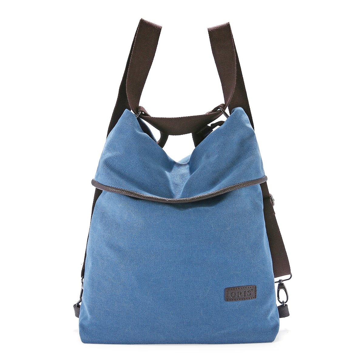 JOSEKO Multifunction Canvas Bag, Women Multifunctional Shoulder Bag Canvas Backpack Casual Travel Daypack Multifunctional Shoulder Bag Handbag Purse,Large Capacity