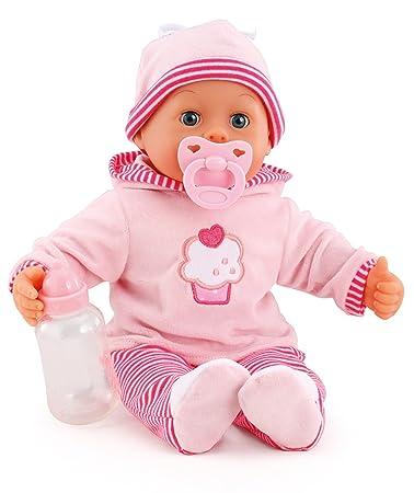 Bayer Design 93816AA Babypuppe First Words mit Schlafaugen, 24 Babylaute, 38 cm, rosa/Streifen