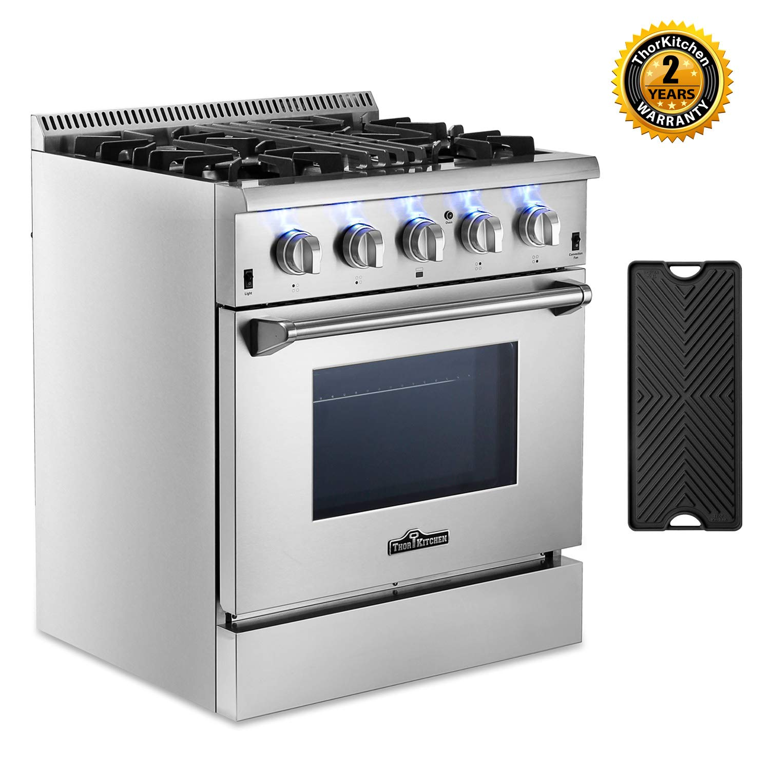Thor Kitchen HRD3088U 30'' Dual Fuel Pro-Style Range Freestanding Professional Style with 4.2 cu.ft Convection Oven in Stainless Steel, 4 Burners, Cast-Iron Reversible Griddle