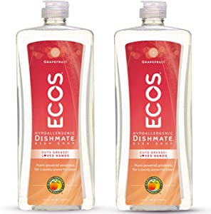 Earth Friendly Products ECOS Dishmate Dish Liquid, Grapefruit 25 oz. (Pack of 2)