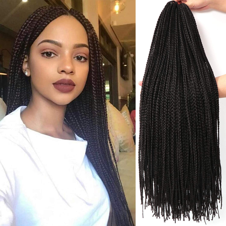 Amazon Com 26 Inch 7 Packs Long Box Braids Crochet Braids Synthetic Crochet Hair Box Braid Crochet Hair Extension 26 Inch 1b Beauty