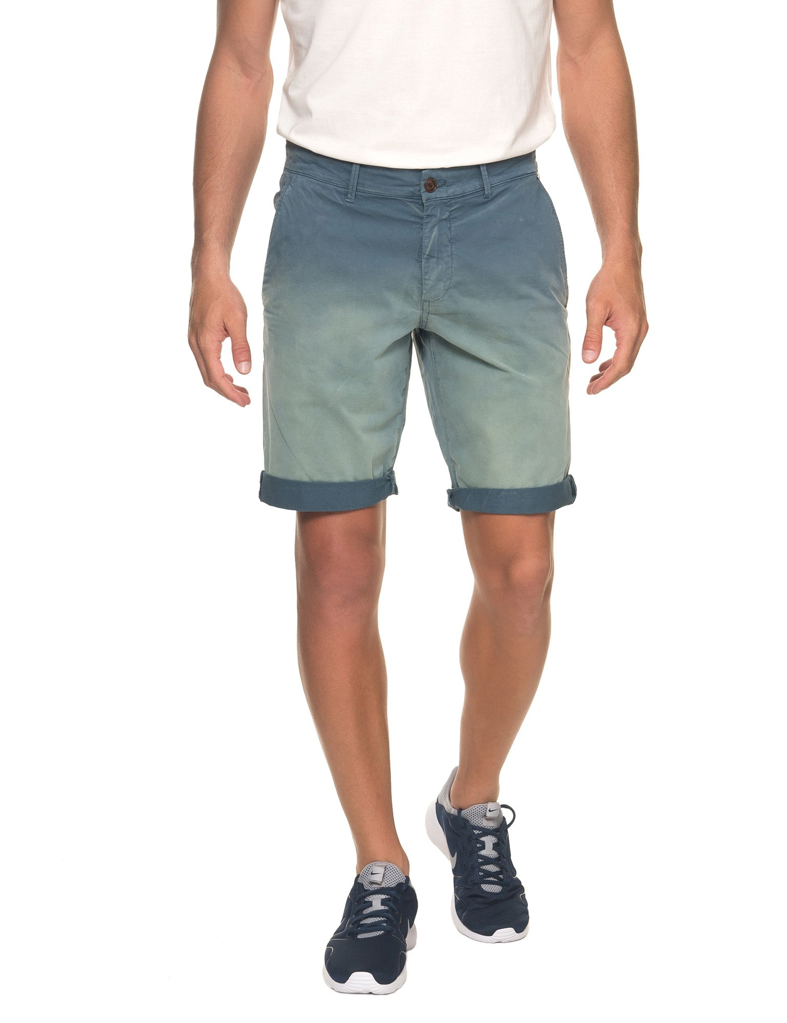 Franklin & Marshall Men's Men's Chino Shorts With Fade Out in Size 38 Blue