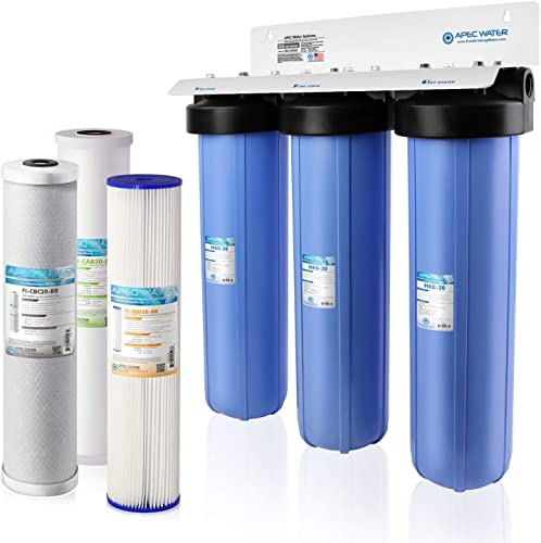 APEC Water Systems 3-Stage Whole House Water Filter System with Sediment, GAC Carbon and Carbon Block Filters (CB3-SED-CAB-CBC20-BB)