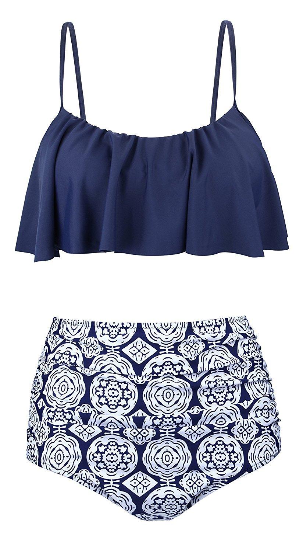 PinSi Womens Thin Shoulder Straps Ruched High Waisted Flounce Top Two Pieces Bikini Swimwear (Medium, Navy Blue)