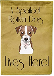Caroline's Treasures BB1450GF Jack Russell Terrier Spoiled Dog Lives Here Flag Garden Size, Small, Multicolor