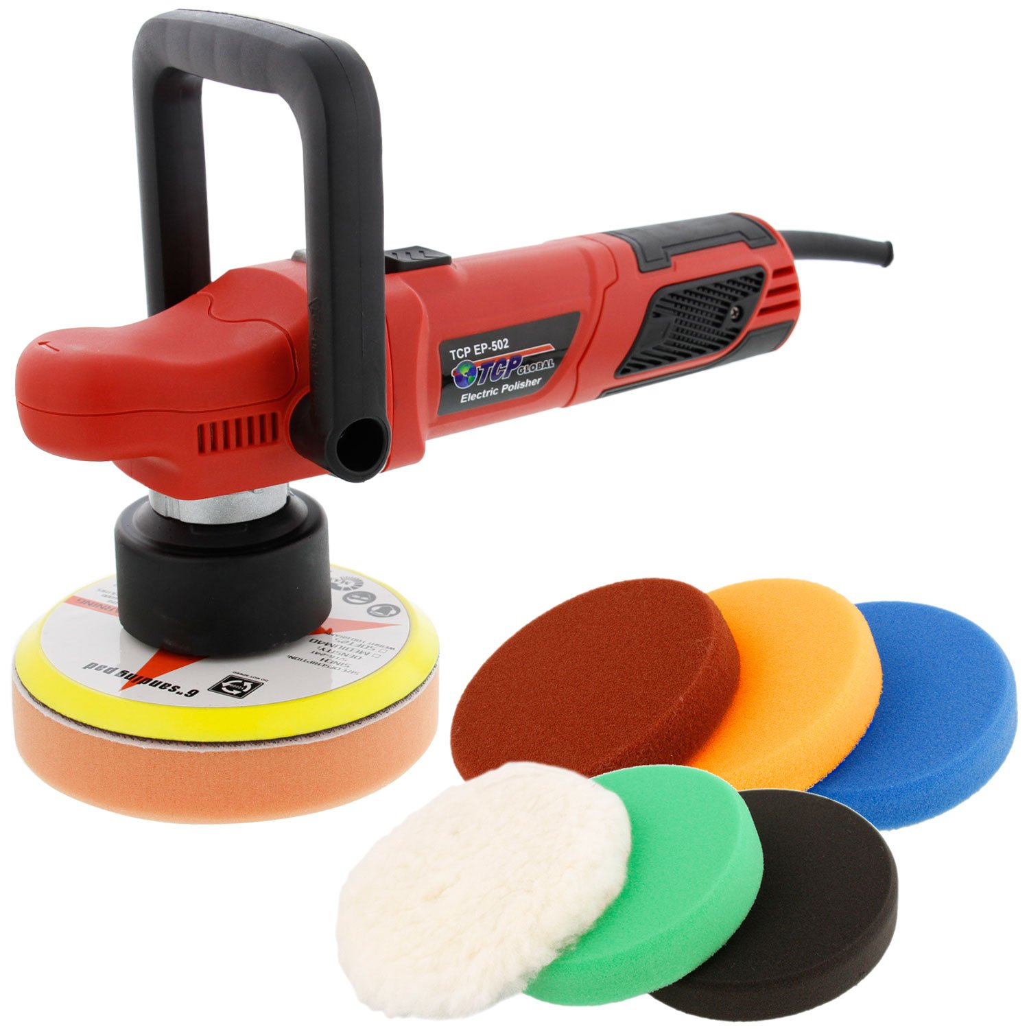 TCP Global Model EP-502-6'' Variable Speed Random Orbit Dual-Action Polisher with a 6 Pad Professional Buffing and Polishing Kit - Buff, Polish & Detail Car Auto Paint