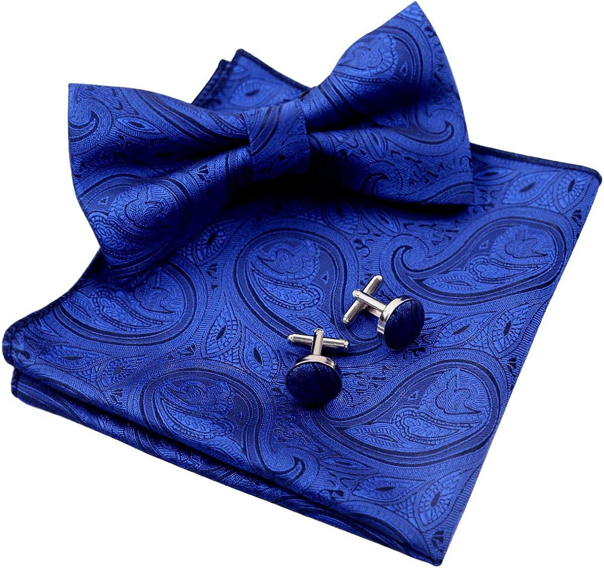 Alizeal Liso Paisley-Pajarita, Pañuelo y Gemelos para Hombre, Azul ...
