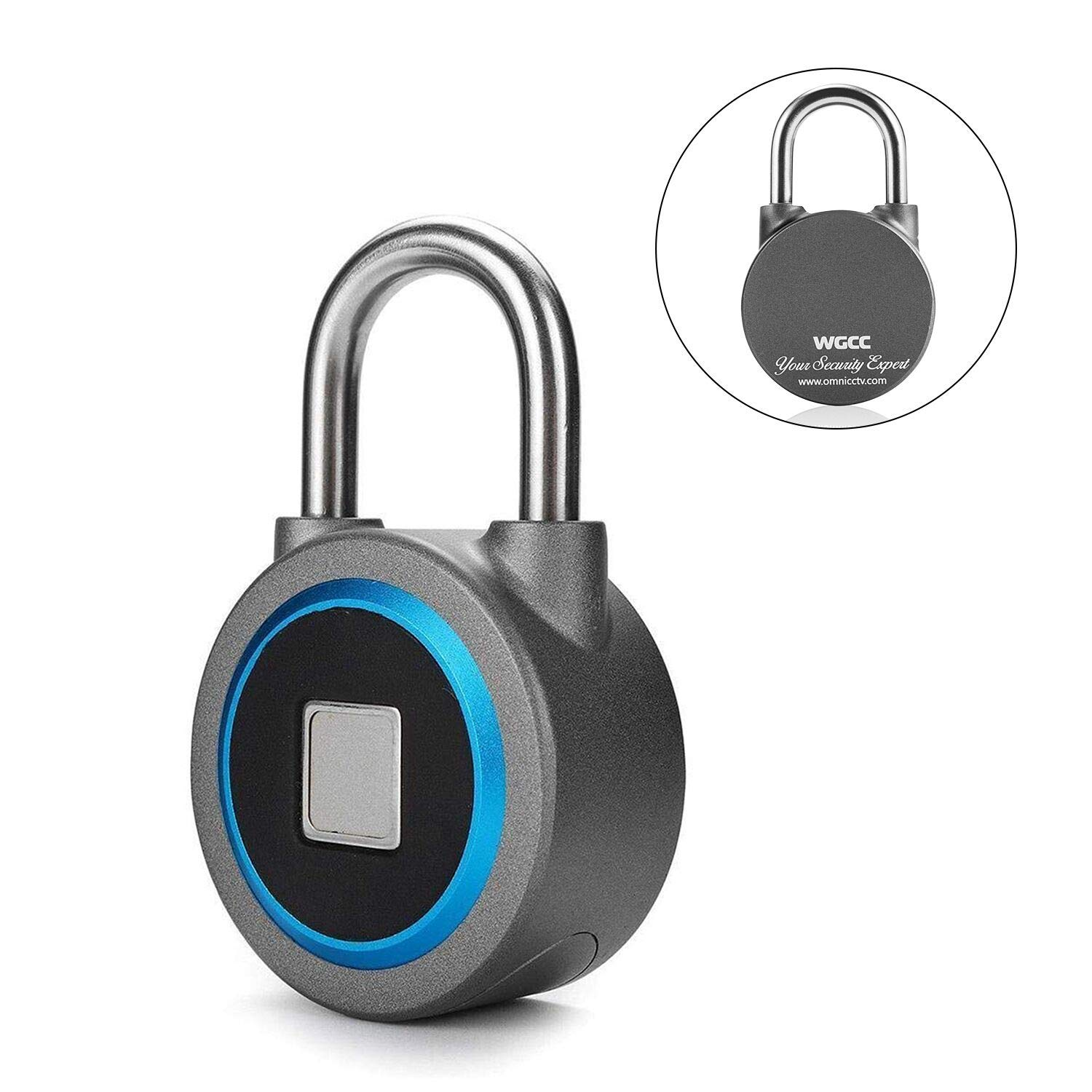Fingerprint Padlock, Bluetooth Connection Metal Waterproof, Suitable for House Door, Suitcase, Backpack, Gym, Bike, Office, APP is Suitable for Android/IOS, Support USB charging (Blue)