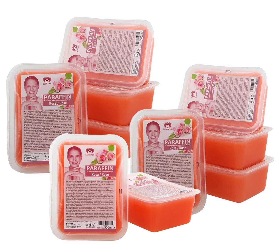 Kosmetex Paraffinbad Rosa Rose, Paraffin-wachs mit niedrigeren Schmelzpunkt, Pfirsich Duft, 10x 500ml Rosa