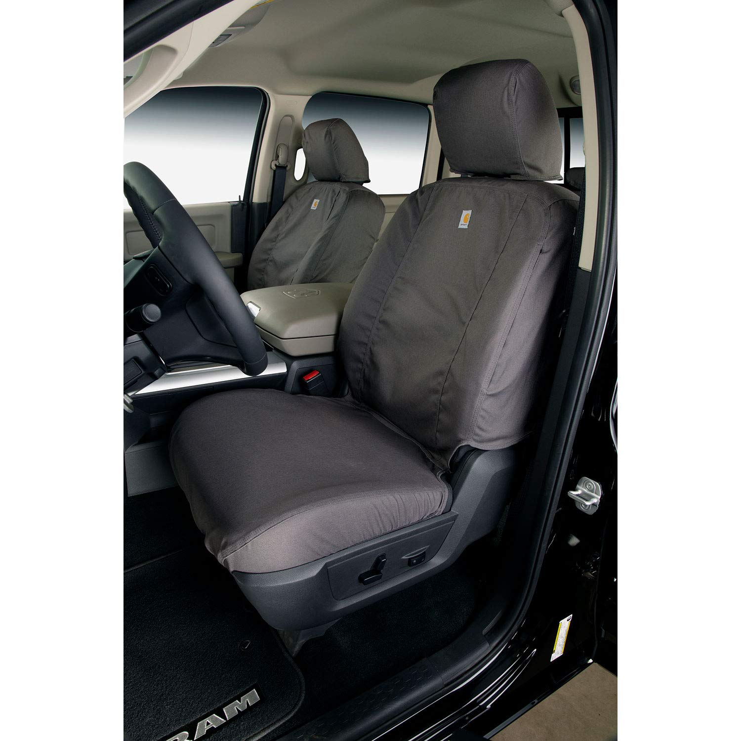 Covercraft Carhartt SeatSaver Front Row Custom Fit Seat Cover for Select Toyota Tacoma Models - Duck Weave (Gravel) by Covercraft (Image #4)