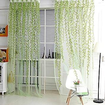 Wicker Vorhang Garn Zeug Für Wohnzimmer Tüll Vorhang Fenster Dekor Grün