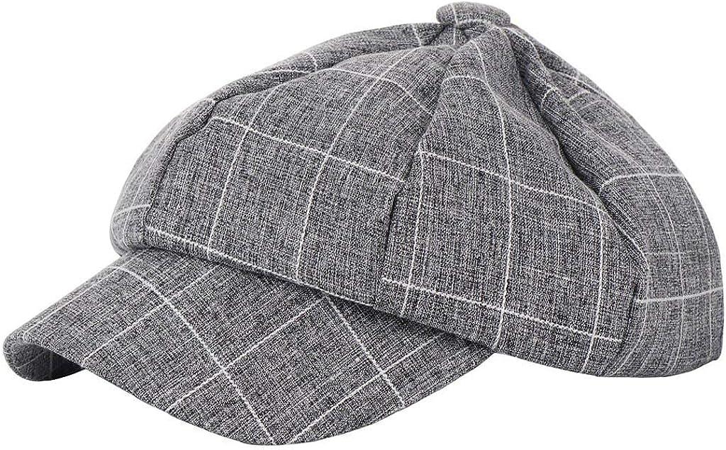 Vcenty Fashion Casual Women Men Unisex Beret Hat Plaid Printed Comfortable Baseball Cap Topee Sunhat
