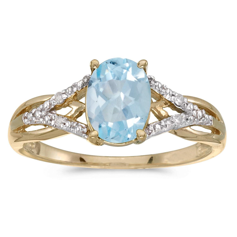 Top Amazon.com: 10k Yellow Gold Oval Aquamarine And Diamond Ring: Jewelry IV33