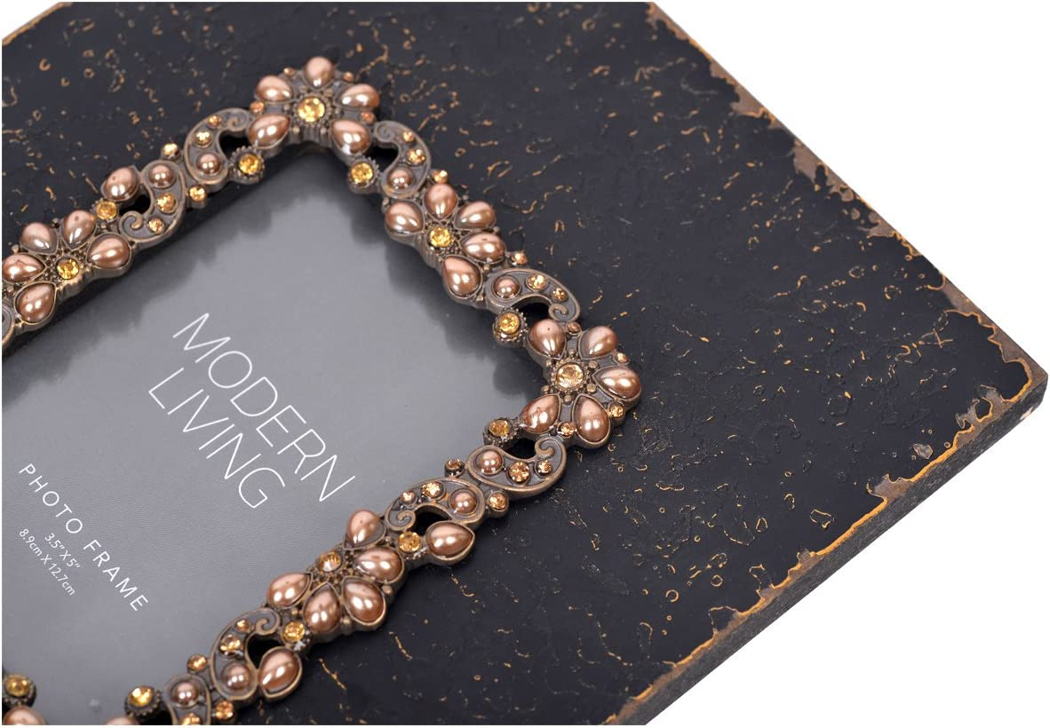 NIKKY HOME Distressed Vintage Wooden Pearl Jeweled Picture Frame for 3.5 x 5 Inch Photos